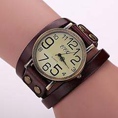 Женские Модные часы Часы-браслет Кварцевый Кожа Группа Винтаж Черный Белый Синий Красный Оранжевый Коричневый Зеленый