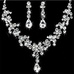 baratos Conjuntos de Bijuteria-Mulheres Strass Conjunto de jóias Brincos / Colares - Para Casamento / Festa / Aniversário