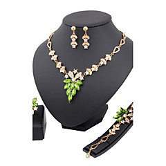 Women's Rhinestone Wedding Party Anniversary Birthday Engagement Gift Alloy Rings Earrings Necklaces Bracelets