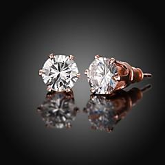 Sitne naušnice Simple Style Zircon Kubični Zirconia Kamen Pozlata od crvenog zlata Rose Gold Jewelry Za Dnevno Kauzalni 1 par