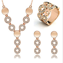 May Polly  Happiness full diamond necklace ring circle Crystal Earrings SetImitation Diamond Birthstone