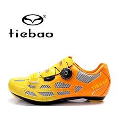 billige Sykkelsko-Tiebao® Veisykkelsko Karbonfiber Anti-Skli, Pustende Sykling Oransje / Gul / Blå Herre