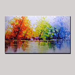 billiga Oljemålningar-Hang målad oljemålning HANDMÅLAD - Landskap Moderna Inkludera innerram / Sträckt kanfas