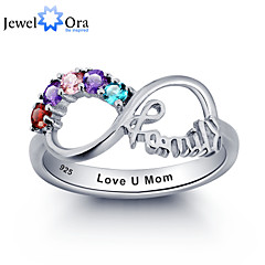 cheap Rings-Noble Personalized Infinity Family Ring Colorful Cubic Zirconia 925 Sterling Silver Ring For Women