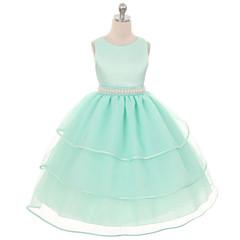 tanie Odzież dla dziewczynek-Dzieci Dla dziewczynek Elegancka odzież Jendolity kolor Bez rękawów Sukienka