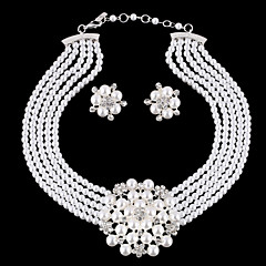cheap Jewelry Sets-Women's Jewelry Set - Pearl, Rhinestone, Silver Plated Flower Ladies, Luxury, European, Fashion, Birthstones, Bridal Include White For Wedding Party Masquerade Engagement Party Prom / Earrings