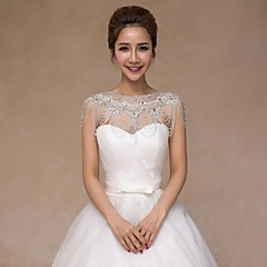 cheap Body Jewelry-Sleeveless Sequined Wedding Wedding  Wraps With Crystal Pearls Collars