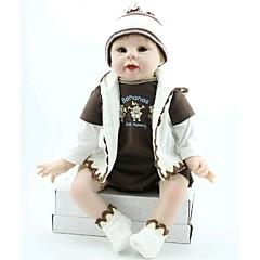 """billige -22"""" Reborn Baby Doll Leketøy Håndlaget Barnesikker liv som Ikke Giftig Newborn Silikon Vinyl Deler"""