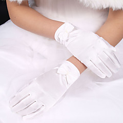 cheap Party Gloves-Polyester Elastic Satin Wrist Length Glove Classical Bridal Gloves With Solid