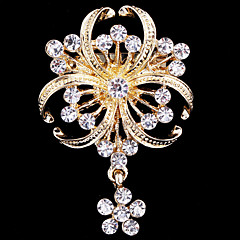 Women's Crystal Pearl Clover Brooch for Wedding Party Decoration Scarf ,Fine Jewelry