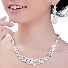 Women's Crystal Rhinestone Wedding Party Anniversary Engagement Silver Earrings Necklaces