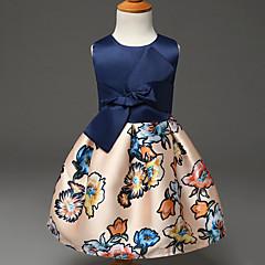 お買い得  女児 ドレス-女の子の ポリエステル ドレス 夏 ノースリーブ フローラル ブルー