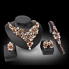 billige Smykke Sett-Dame Syntetisk Diamant Luksus Kjærlighed Bryllup Fest Syntetiske Edelstener Perle 18K gull Fuskediamant 1 Halskjede 1 Par Øredobber 1