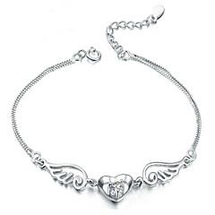 Damen Bettelarmbänder Liebe Modisch Sterling Silber Herzform Weiß Purpur Schmuck Für Party Alltag Normal 1 Stück