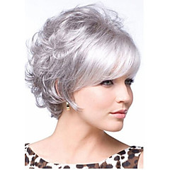 お買い得  人工毛ウィッグ-人工毛ウィッグ カール レイヤード・ヘアカット バング付き Bangsと 密度 キャップレス 女性用 白 ナチュラルウィッグ ショート 合成