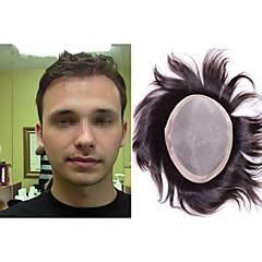 billiga Peruker och hårförlängning-Herr Äkta hår Tupéer Rak Klassisk 100 % handbundet Monofilament Hög kvalitet Dagligen