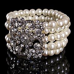女性用 人造真珠 / ラインストーン ブレスレット チェーン / ストランド / ラウンドバングル 人造真珠 / 合金