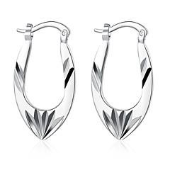 スタッドピアス クリップイヤリング 彫刻 欧風 純銀製 銅 銀メッキ フラワー シルバー ジュエリー のために 結婚式 パーティー 日常 カジュアル 1ペア