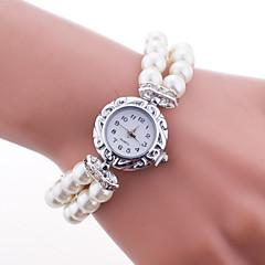 Women's Fashion Watch Bracelet Watch Quartz Plastic Band Pearls Elegant White Blue Red Pink Strap Watch