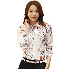 Damen Blumen Lässig/Alltäglich Übergröße Hemd,Hemdkragen Frühling Langarm Polyester Dünn