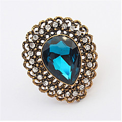 Vintage Jewelry Punk Female Gold-plated Crystal Rhinestone Adjustable Ring