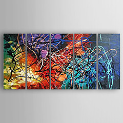 cheap Wall Art-Oil Painting Hand Painted - Abstract Modern Stretched Canvas / Five Panels