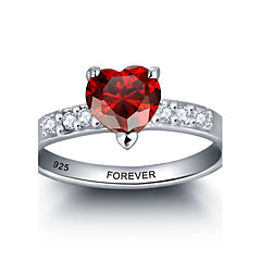 パーソナライズされた赤い心925スターリングシルバーczの結婚指輪女性のための