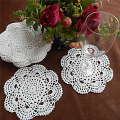 cheap -Set of 24 Pcs 20cm Round Handmade Crochet Table Doilies Elegant Style