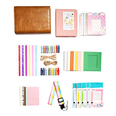 Fujifilm Universal Mini7 8 25 50 70 90 Leather Case Polaroid Camera Accessory Kit Gift (Macaron Album Sticker Frame)