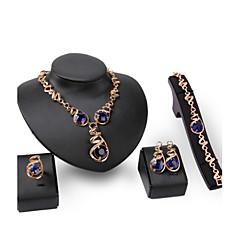 tanie Zestawy biżuterii-Damskie Syntetyczny Sapphire Cyrkonia Złoto 18K Pokryte różowym złotem Luksusowy Biżuteria Ustaw Zawierać 1 Naszyjnik 1 parę kolczyków 1