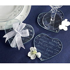 Good Wishes Heart Glass Coaster (2pcs/box) Wedding Favors Beautiful