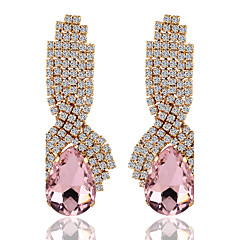 cheap Earrings-Women's Crystal Alloy Round Jewelry Gold Black Blue Pink Costume Jewelry