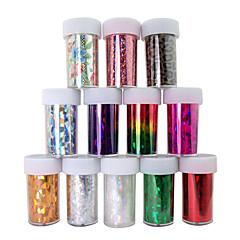 baratos -Decorações folha 12pcs a laser unhas unhas estrelados adesivos no.1-12 (120x4x0.1cm)