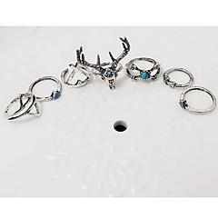 billige Motering-Dame Geometrisk / stables Ring / Ringer Set / Midi Ring - Legering Rådyr, Dyr Vintage, Bohemsk, Europeisk Justerbar Sølv Til Fest / Daglig / Avslappet