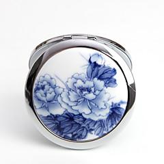 ヴィンテージテーマ-手鏡/コンパクトミラー(ブルー) -非パーソナライズ