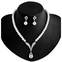 Feminino Colar / Brincos bijuterias Imitação de Pérola Strass Prata Chapeada Liga Colares Brincos Para Casamento Festa Diário Presentes
