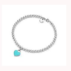 billiga -Herr Dam Försilvrad Hjärta Berlock Armband Sträng Armband - Bohemisk Kärlek Inspirerande Mode Hjärta LOVE Grön Rosa Armband Till