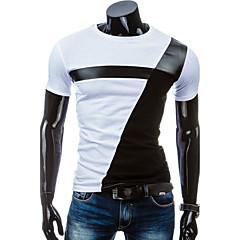 男性用 日常 スポーツ 夏 Tシャツ パッチワーク コットン ポリエステル 半袖