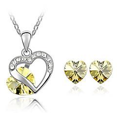 baratos Conjuntos de Bijuteria-Mulheres Cristal Conjunto de jóias - Cristal Amor Fashion Incluir Colar / Brincos Amarelo / Azul Para Diário / Casual / Colares