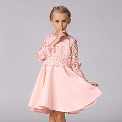 billige Pigekjoler-Børn Pige I-byen-tøj Ensfarvet Langærmet Kjole