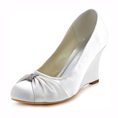 cheap Women's Heels-Women's Wedge Heels Stretch Satin Spring / Fall Heels Wedge Heel Crystal Dark Blue / Ivory / Wedding / Party & Evening / Dress / 3-4 / Party & Evening