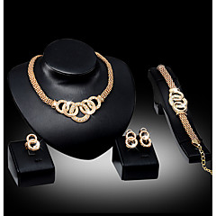 cheap Jewelry Sets-Women's Bib Jewelry Set - Africa Include Necklace / Earrings / Bracelet Silver / Golden For Wedding / Party / Daily / Ring / Rings / Bracelets & Bangles