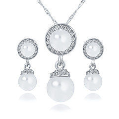 Round Imitation Pearl Earrings Angel Eyes Rhinestone Necklace Wedding Jewelry Set