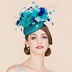 baratos Acessórios de Cabelo-Linho Pena Rede Fascinadores Chapéus 1 Casamento Ocasião Especial Casual Capacete