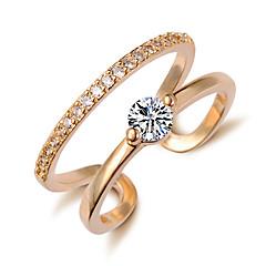 お買い得  指輪-女性用 指輪 キュービックジルコニア ゴールド シルバー 合金 スタイリッシュ 結婚式 パーティー/フォーマル コスチュームジュエリー
