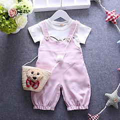 billige Babyoverdele-Baby Pige Tegneserie Trykt mønster Kortærmet Kort Bomuld Tøjsæt