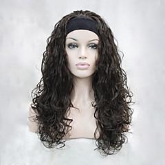 billiga Peruker och hårförlängning-Syntetiska peruker Vågigt Syntetiskt hår Brun Peruk Dam Utan lock Kastanj brunt