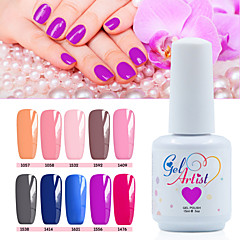 billige Neglelakk og gellakk-Neglelakk UV-Gel 15ml 12picecs/set UV Color Gel UV Top Coat Gel Topplag Underlag Lys Dypp av langvarig UV Color Gel UV Top Coat Gel