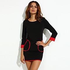 Kadın Çalışma Büyük Beden Sade Salaş Gömlek Elbise Kırk Yama,Uzun Kollu Yuvarlak Yaka Diz-boyu Polyester Splandeks Sonbahar Normal Bel