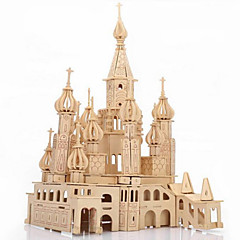 cheap -3D Puzzles Jigsaw Puzzle Wooden Puzzles Wood Model Model Building Kit Castle Famous buildings Architecture 3D Simulation Wood Gift